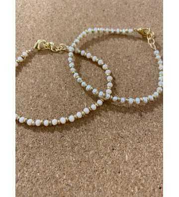 Bracelet perles nacre blanc