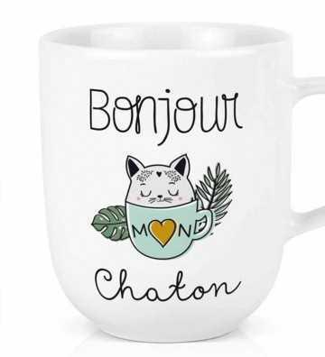 Maxi tasse Bonjour chaton Créa-Bisontine - 1