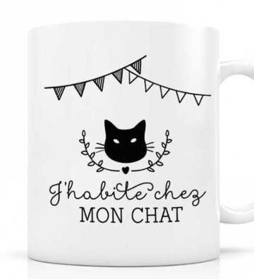 Mug J'habite chez mon Chat Créa-Bisontine - 1