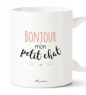 Bonjour Mon Petit Chat Rose - Mug Manahia - 1