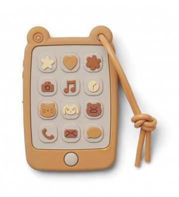 Jouet téléphone silicone Jaune Liewood - 1