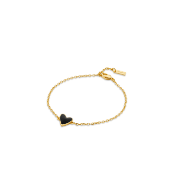 Bracelet Coeur noir et or